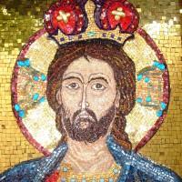 Iisus Hristos Mântuitorul - ic. micromozaic pe lemn 40cm/50cm