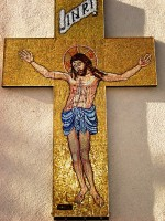 Cruce Mozaic - sticlă Murano fond aur - Paraclisul Mânăstirii Petru Vodă