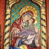 Icoana Mozaic Maica Domnului cu Pruncul - Dulcea sărutare