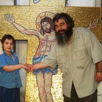 Mozaic religios troita cu fonduri de aur